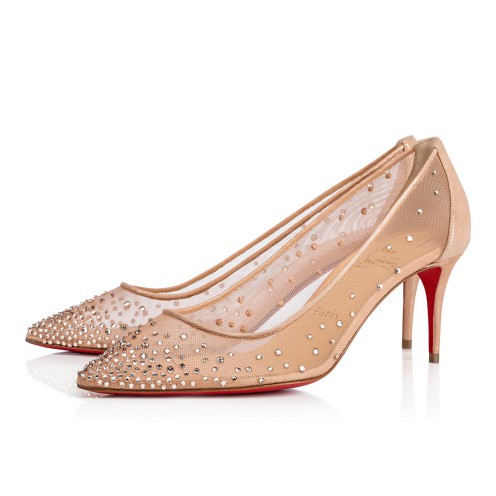 Shoes - Follies Strass Rete/suede Lame - Christian Louboutin