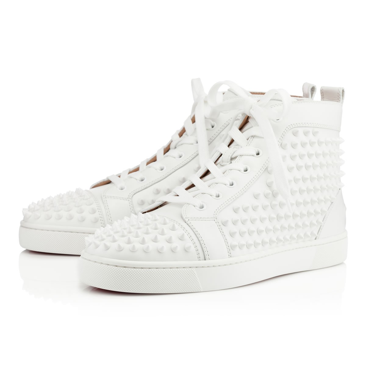 christian louboutin junior spikes white