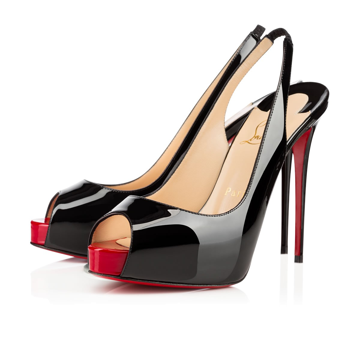 the best attitude 6de3c f52f5 PRIVATE NUMBER 120 Black Patent calfskin - Women Shoes - Christian Louboutin