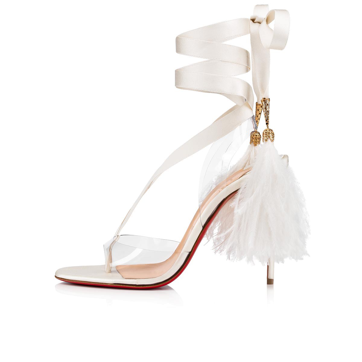 7c6b1f82ae9 Marie Edwina 100 Version off white PVC, Satin crepe and Ostrich feathers -  Women Shoes - Christian Louboutin