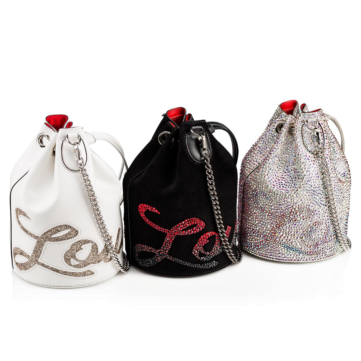 1e5da3c17d36 Marie Jane Bucket Bag Black Red-Black Suede and Strass - Handbags ...