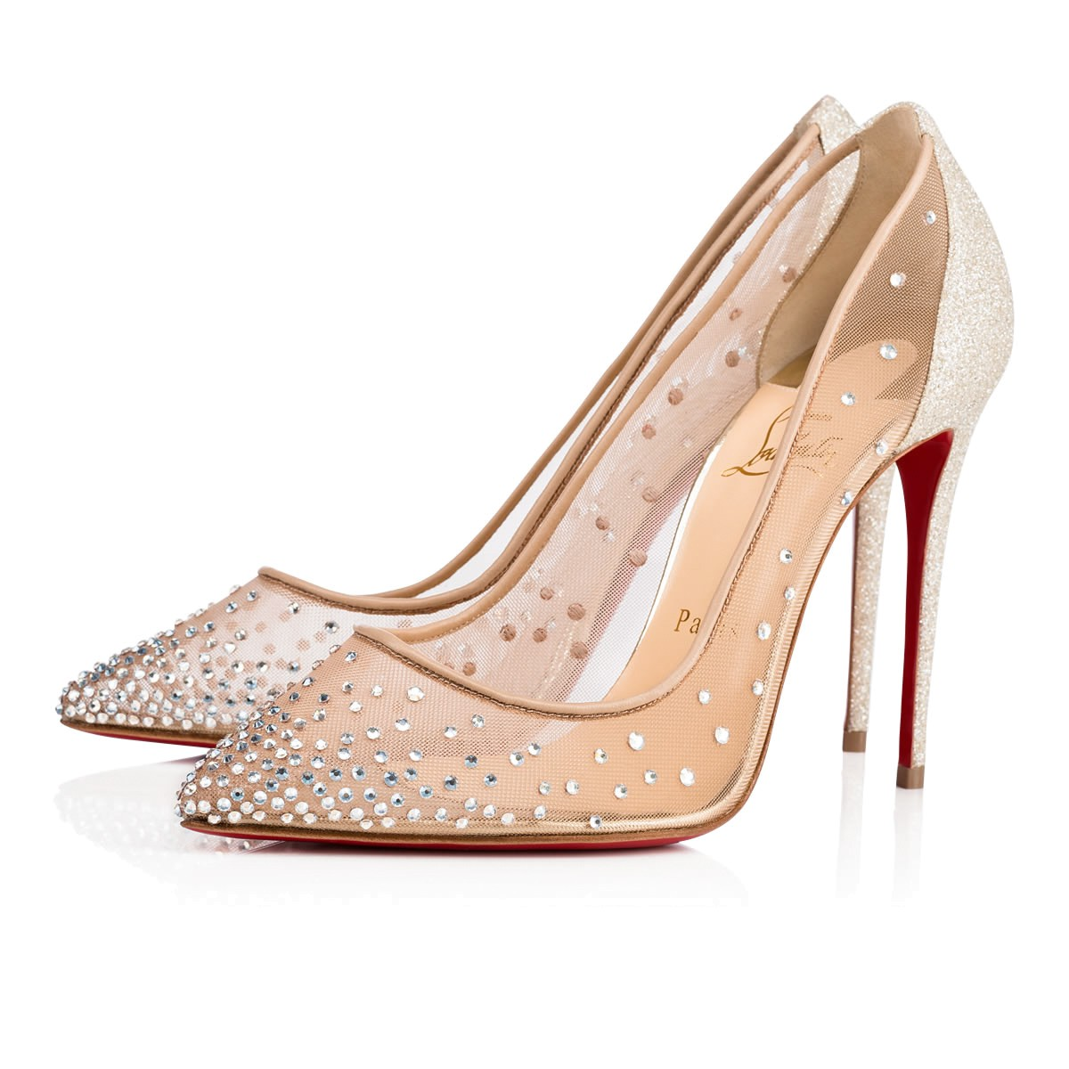 check out 1e49b 5a57f FOLLIES STRASS 100 Crystal Moonlight Rete and Strass - Women Shoes -  Christian Louboutin