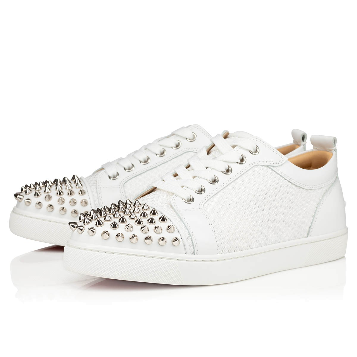huge discount e2f2d 7e20f AC LOUIS JUNIOR SPIKES WOMAN White Fabric and Calfskin - Women Shoes -  Christian Louboutin