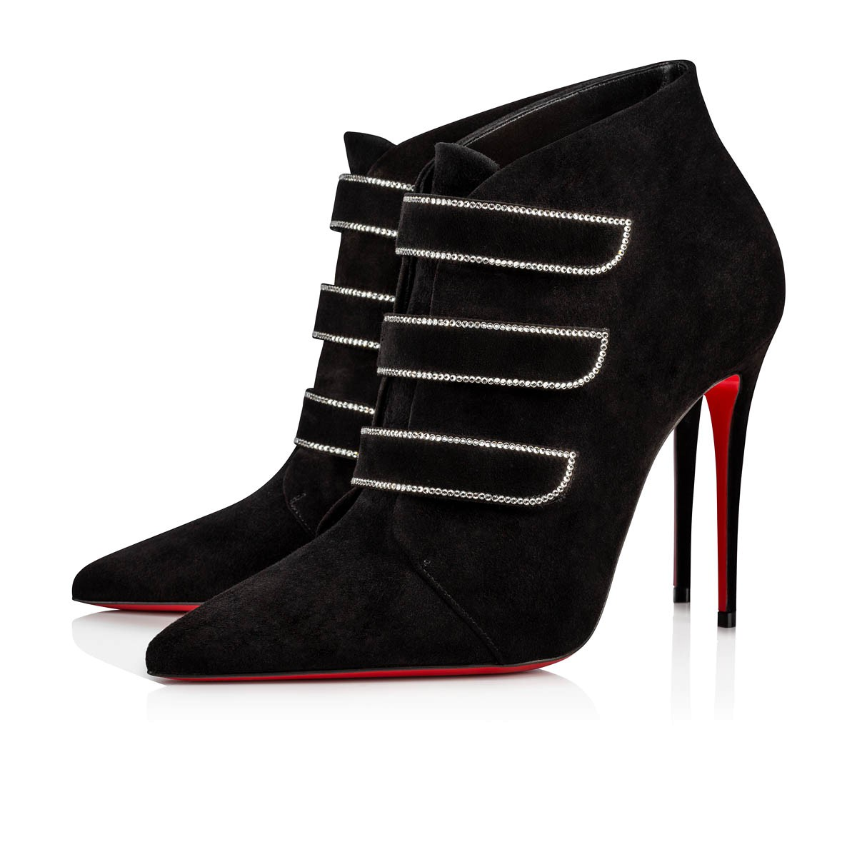 chaussures de sport 67990 aa823 TRINIBOOT STRASS 100 Black Veau Velours - Women Shoes - Christian Louboutin