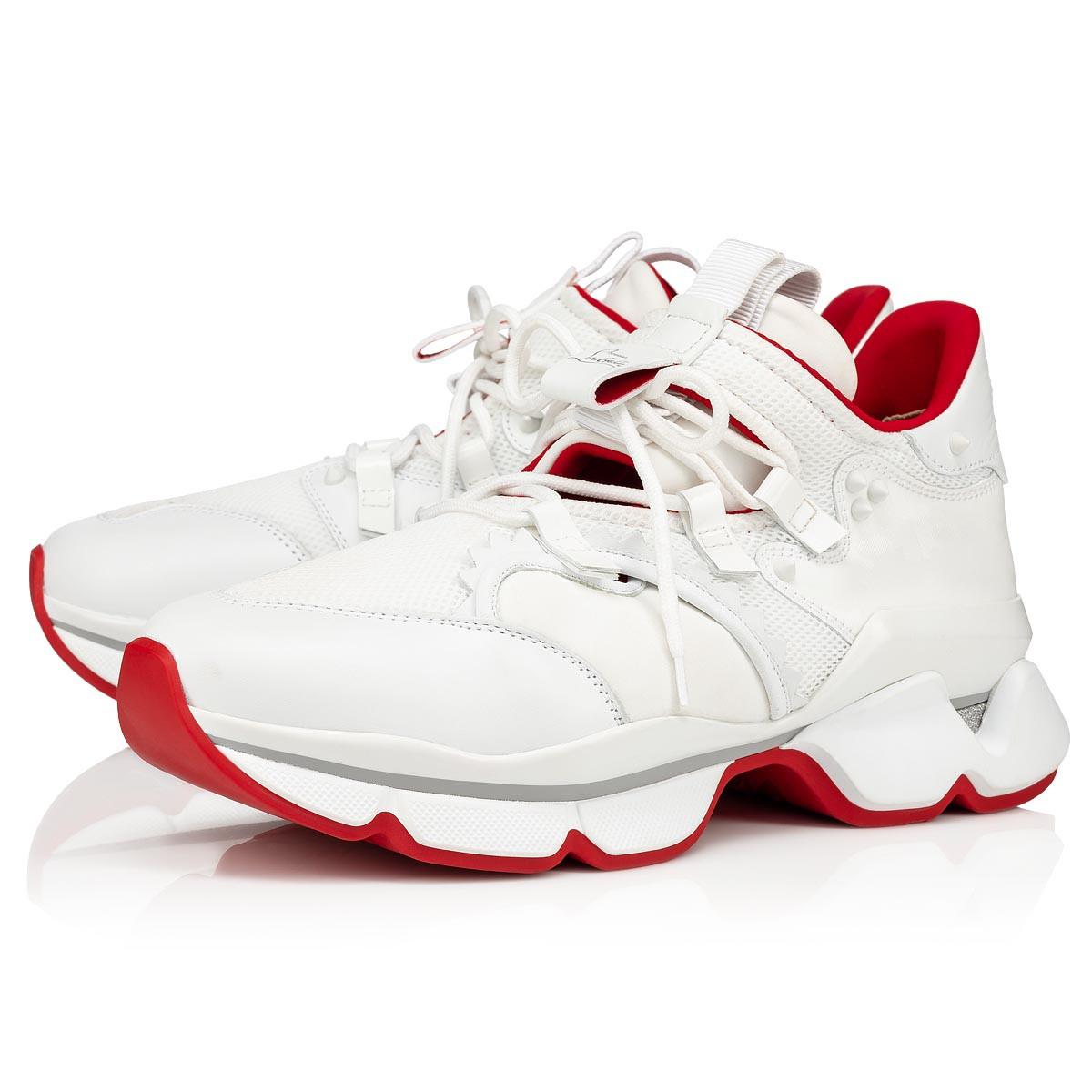 RED RUNNER WHITE FABRIC - Men Shoes
