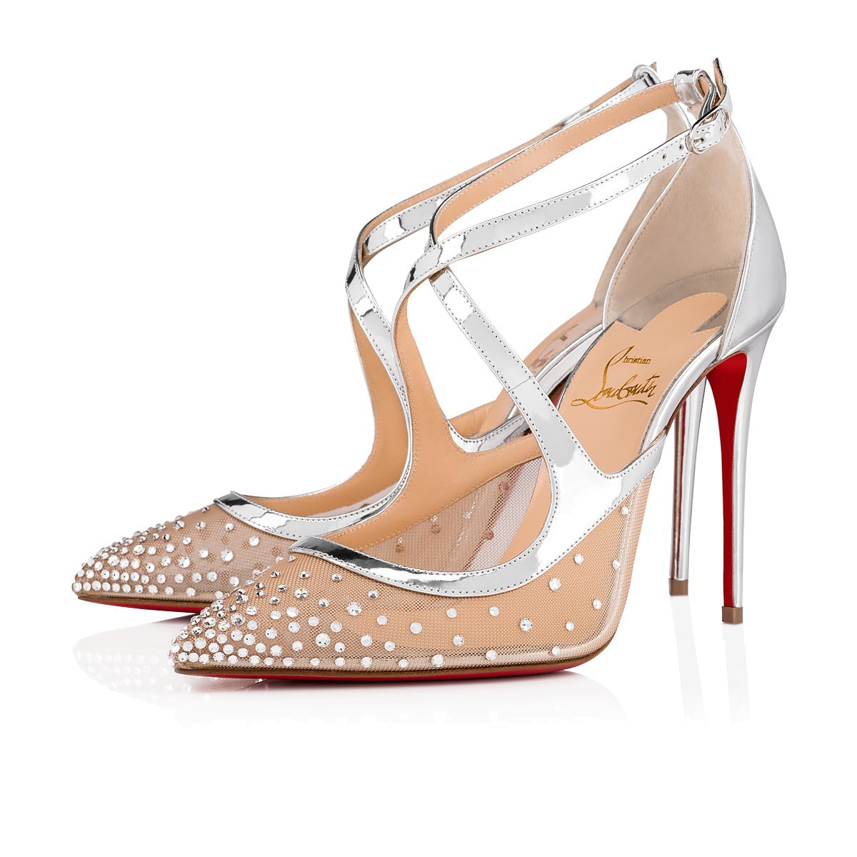 9c9ab6ce892 Christian Louboutin Twistissima Strass 100 Metallic Leather Pumps In  Version Crystal
